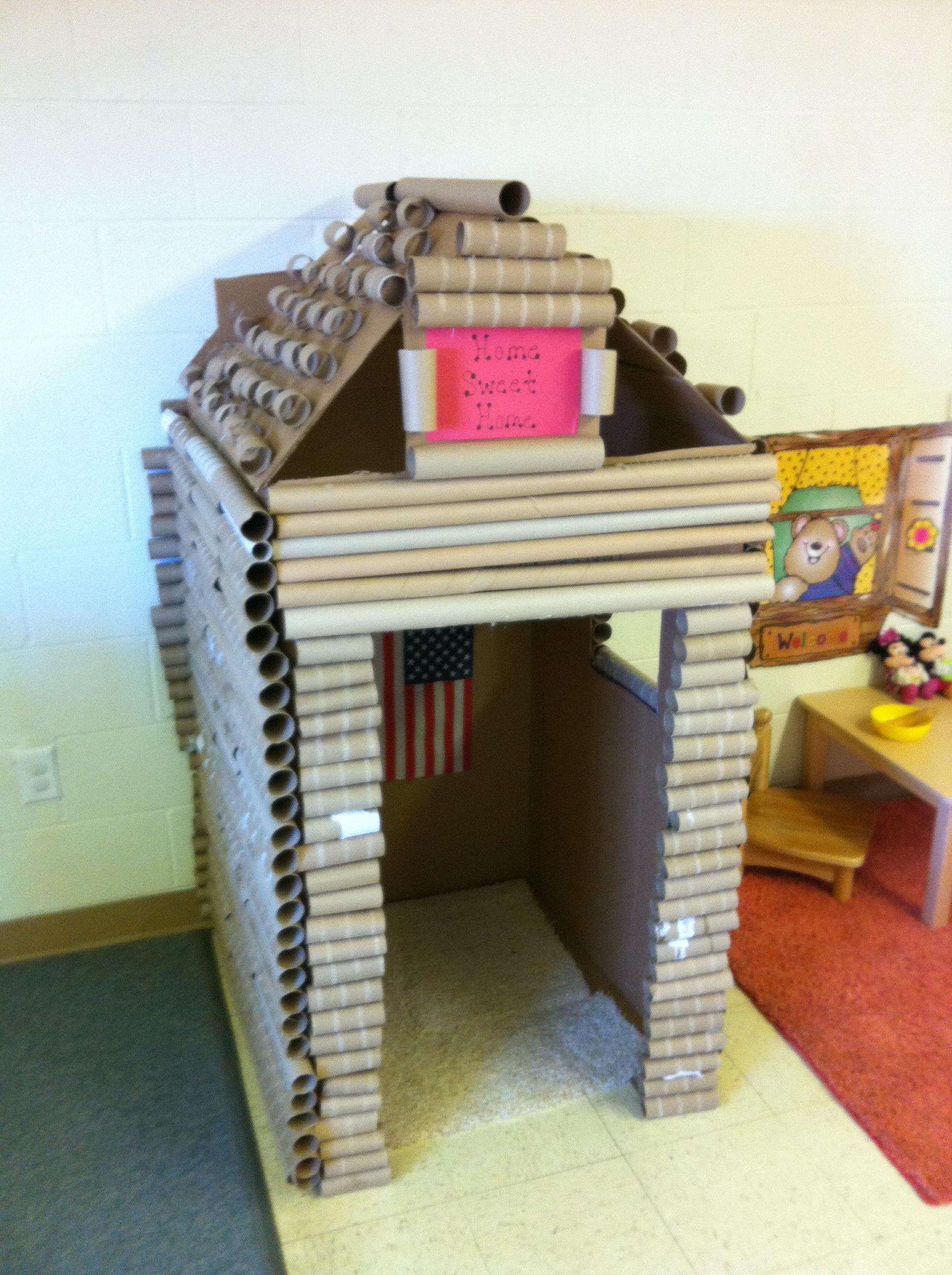 Cardboard Box And Paper Towel Gift Wrap Tube Log Cabin Craigslistdad