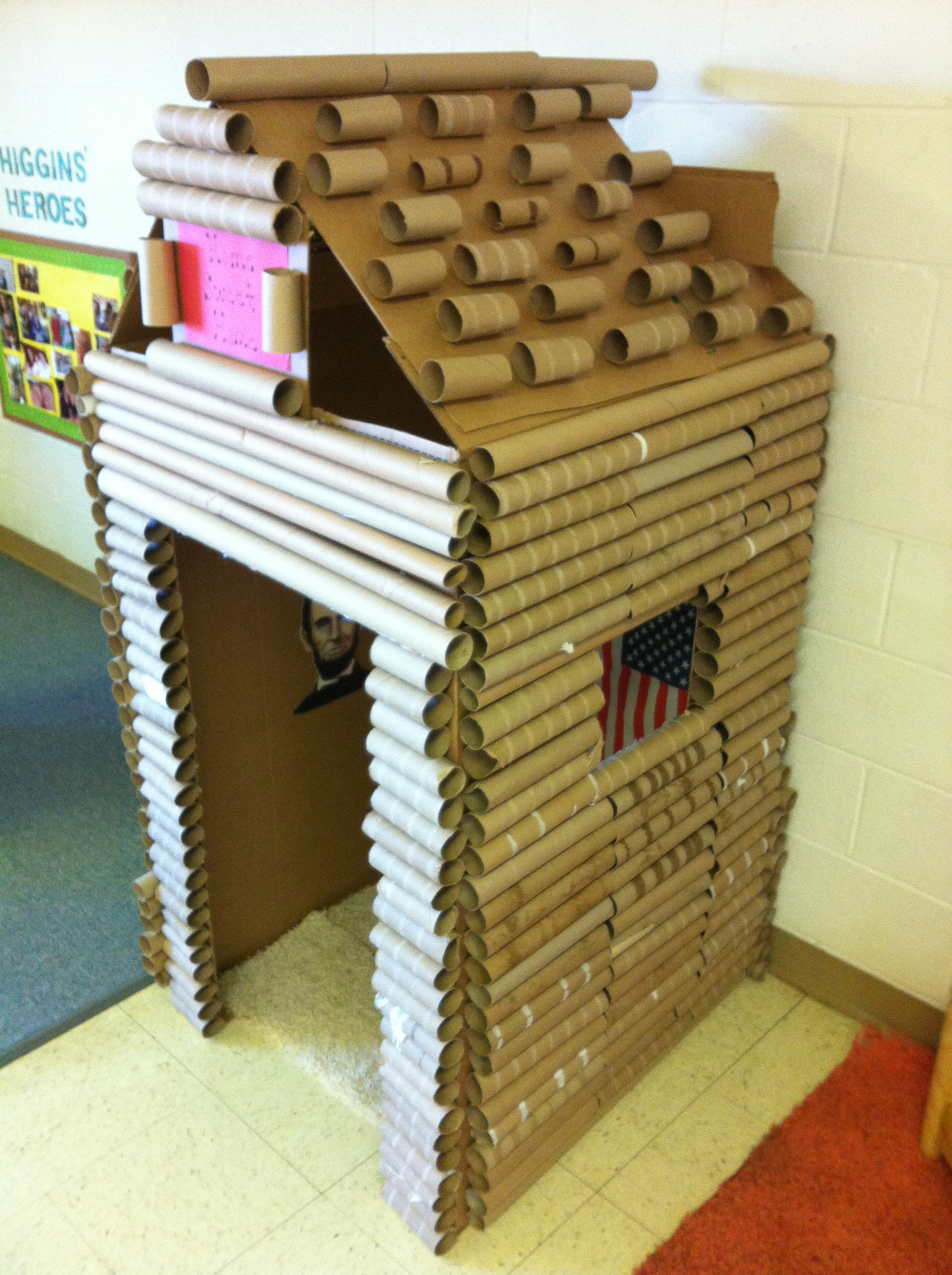 Cardboard box and paper towel gift wrap tube log cabin for Log cabin project